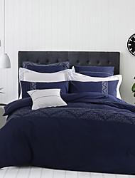 turqua tomar uma respiração profunda 100% 4pcs conjunto de algodão bordado capa de edredão, incluindo caso Consolador folha plana fronha