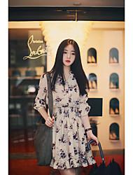 корейский торговый весной 2017 сладкий темперамент печати эластичный воротник однобортный платье короткой юбке