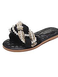 ЧерныйПовседневный-Ткань-На плоской подошве-Удобная обувь-Сандалии