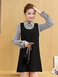 2017 spring new Korean dress striped long-sleeved shirt with a bow tie vest dress two-piece suit
