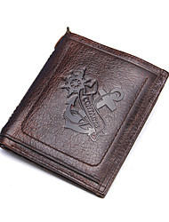 Contacts Genuine Leather Bifold Thin Wallet Casual Purse Cowhide Men