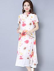 2017 neue Frauen des Sommers&# 39; s chinesischen Stil retro doppelte Kragen elegantes Chiffon- Druckkleid