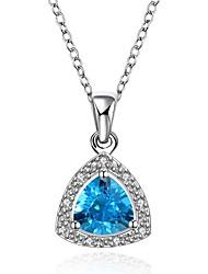 Pendentif de collier Aigue-marine Zircon cubique Forme de Coeur Forme Géométrique Cristal Zircon Cuivre Plaqué or Imitation de diamant