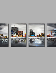 Hand Painted Abstract Oil Painting City Scenery Modern Four Panels Canvas Oil Painting For Home Decoration