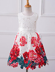 Girl's Solid Floral Dress,Cotton Polyester Summer All Seasons Spring Sleeveless