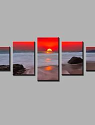 Landscape Modern,Five Panels Canvas Vertical Print Wall Decor For Home Decoration