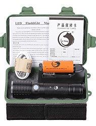U'King ZQ-X1069B#4-EU CREE XML T6 2000LM 3Modes White/Round LED Flashlight Torch Kits with USB Charging Cable