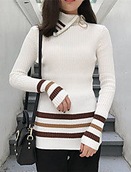 Sign Korean fashion wild lapel hit color zipper Slim striped sweater with high collar shirt bottoming