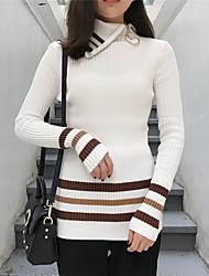 assinar moda coreana selvagem lapela hit cor zipper suéter listrado fino com gola alta camisa de assentamento