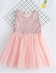 Girl's Beach Solid Patchwork Dress,Polyester Summer Sleeveless