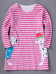 Girl's Sports Polka Dot Striped Dress,Cotton Spring Fall