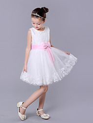 A-line Knee-length Flower Girl Dress - Lace Organza Sleeveless Jewel with Bow(s) Sash / Ribbon