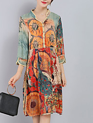 Women's Plus Size Going out Sophisticated Loose Dress,Print Split V Neck Knee-length ¾ Sleeve Silk Polyester Orange Spring Summer Mid Rise