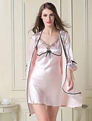 Damen Dessous Satin & Seide Besonders sexy Anzüge Nachtwäsche,Sexy Spitze einfarbig-Dünn Spitze Satin Seide Eis-Seide Rosa Rote