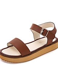 sandales confort d'été robe de similicuir talon plat casual boucle marche