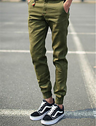 Men's Skinny Harem Chinos Pants,Casual/Daily Simple Solid Low Rise Button Rayon Micro-elastic Spring Summer