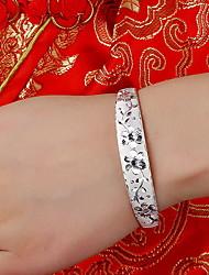 Bracelete Prata de Lei Natureza Esculpido Formato de Flor Jóias Prata Jóias 1peça