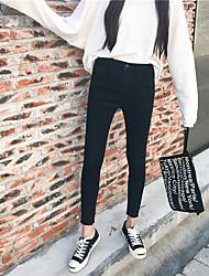 unterzeichnen neue minimalistische Taille koreanischen wilden dünnen Stretch-Denim Strumpfhosen Füße Bleistift Hose wurde