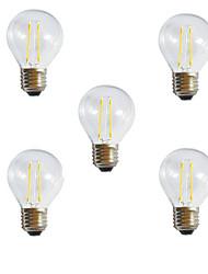 5pcs g45 2w 100-180lm e27 250lm Ampoule lumineuse à incandescence LED à chaleur / refroidissement à ciel ouvert de 360 degrés (ac220-240v)
