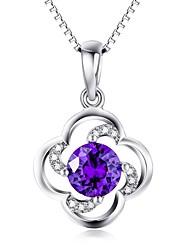 Pendentif Cristal Cristal Zircon Imitation de diamant Basique A Fleurs Bleu Bijoux Quotidien Décontracté 1pc