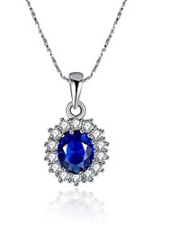 Women's Pendant Necklaces Chain Necklaces AAA Cubic Zirconia Crystal Zircon Silver Plated Alloy FlowerBasic Unique Design Flower Style