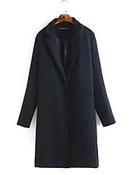 Manteau Femme,Couleur Pleine Sortie simple Manche Longues Col de Chemise Repasser à l'envers Coton Long Printemps