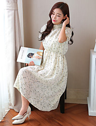 Sign 2017 spring and summer big yards fat MM 200 pounds was thin waist fifth sleeve floral jumpsuit dress