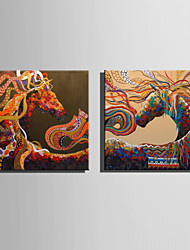 E-HOME Oil painting Modern Abstract Colored Horse Series 2 Pure Hand Draw Frameless Decorative Painting