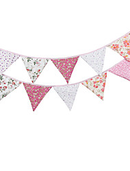 3.2m 12Flags Pink Flower Banner Pennant  Cotton Bunting Banner Booth Props Photobooth Birthday Wedding Party Decoration