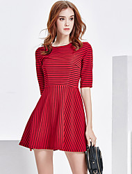 Women's Going out Party/Cocktail Street chic Slim A Line Skater Dress Striped Mini 1/2 Length Sleeve Cotton /Polyester Red /Black Summer