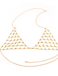 Body Jewelry Body Chain Handmade Personalized European Fashion Statement Jewelry Folk Style Imitation Diamond Alloy Geometric Jewelry For