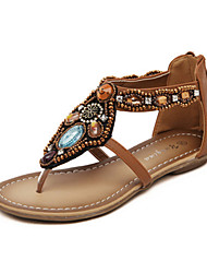 Women's Sandals Spring Summer Fall Gladiator Comfort Novelty PU Outdoor Office & Career Dress Casual Flat Heel Sparkling Glitter Zipper