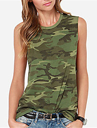 Fashion Wild Round Neck Sleeveless Camouflage Vest Daily Leisure Home Egression Upper Outer Garment