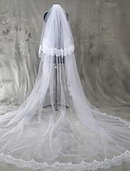 Hochzeitsschleier Zweischichtig Gesichts Schleier Kathedralen Schleier Spitzen-Saum Tüll