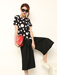 Sign suit wide leg pants spring new short-sleeved T-shirt fashion ladies two-piece pant female Slim