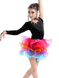 Latin Dance Dresses Children's Performance Milk Fiber Crystals/Rhinestones Splicing 6 Pieces Sleeveless Long Sleeve HighDress Neckwear