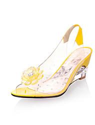Damen-Sandalen-Kleid Lässig-Gummi-Keilabsatz-Komfort Club-Schuhe-Schwarz Blau Gelb Rot Weiß