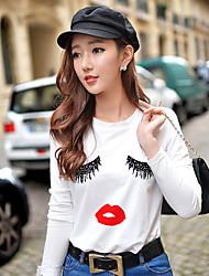 T-shirt Da donna Vacanze Per uscire Casual Semplice Moda città Attivo Primavera Autunno,Con stampe Monocolore Rotonda Cotone Elastene