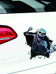 2017 Car Vinyl Skull Skeleton Stickers Truck Window Wrap Decals Motorcycle Helmet Funny Sticker Car Styling Human Skeleton Badge(2PCS)