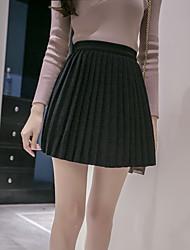 2016 Winter neue koreanische Version eines Wortes Rock Röcke Frauen wilde feste Farbe Taille kultiviert