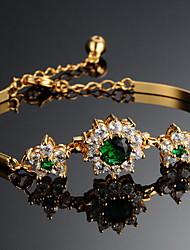 Chain Bracelet Alloy Zircon Rhinestone Simulated Diamond 18K gold Fashion Flower Gold Jewelry 1pc