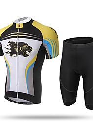XINTOWN® Men's Cycling Jersey Shorts Sleeve Bicicleta Bike Skinsuits Suit Shirts 3D Cushion Padded Cycle Racing Jacket Clothing Wear Cheetah