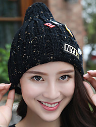Women Stretch Red English Leather Printing Velvet Plus Cashmere Knitting Wool Outdoor Winter Hat