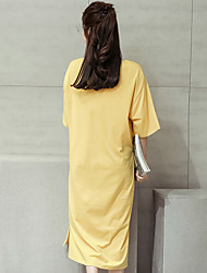 2017 summer new large size Korean version of the long section of loose short-sleeved T-shirt casual short-sleeved dress skirt dress