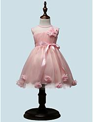 BONJEAN A-line Knee-length Flower Girl Dress - Chiffon Jewel with Flower(s)