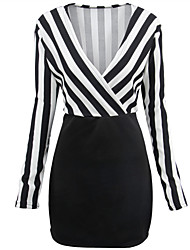 Fashion Wild Deep V Collar Long Sleeves Stripe Splicing Sexy Package Hip Dress Everyday Casual LO Party Cocktail Formal Occasions Dresses
