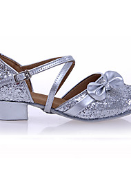 Non Customizable Women's Kids' Dance Shoes Patent Leather Sparkling Glitter Paillette Synthetic Latin Flats Sandals Sneakers Low Heel