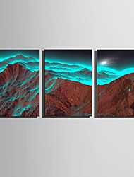 E-HOME Stretched Canvas Art Quiet Mountain Scenery Decoration Painting Set Of 3