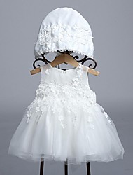 Ball Gown Knee-length Flower Girl Dress - Organza Sleeveless Jewel with Appliques Lace