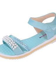 Sandals Spring Summer Fall Comfort Canvas Dress Casual Flat Heel Imitation Pearl Multi-color